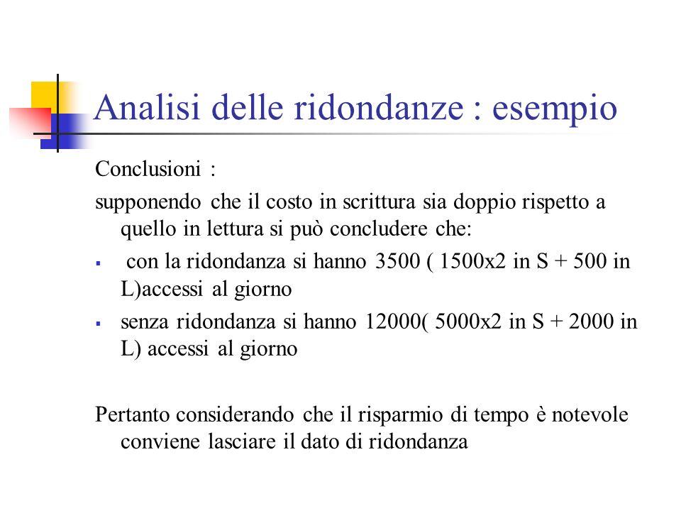 Analisi delle ridondanze : esempio Conclusioni : supponendo che il costo in scrittura sia doppio rispetto a quello in lettura si può concludere che: c