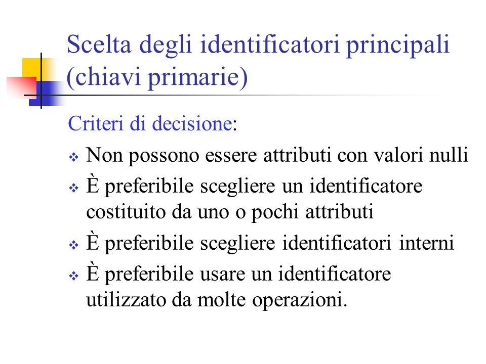 Scelta degli identificatori principali (chiavi primarie) Criteri di decisione: Non possono essere attributi con valori nulli È preferibile scegliere u