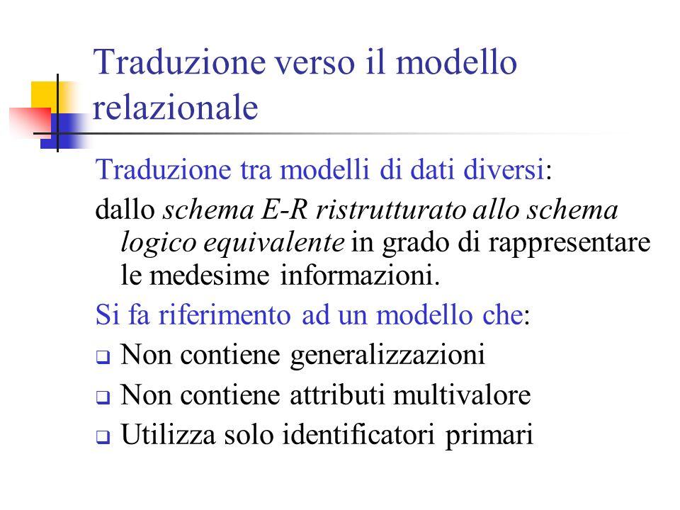 Traduzione verso il modello relazionale Traduzione tra modelli di dati diversi: dallo schema E-R ristrutturato allo schema logico equivalente in grado di rappresentare le medesime informazioni.