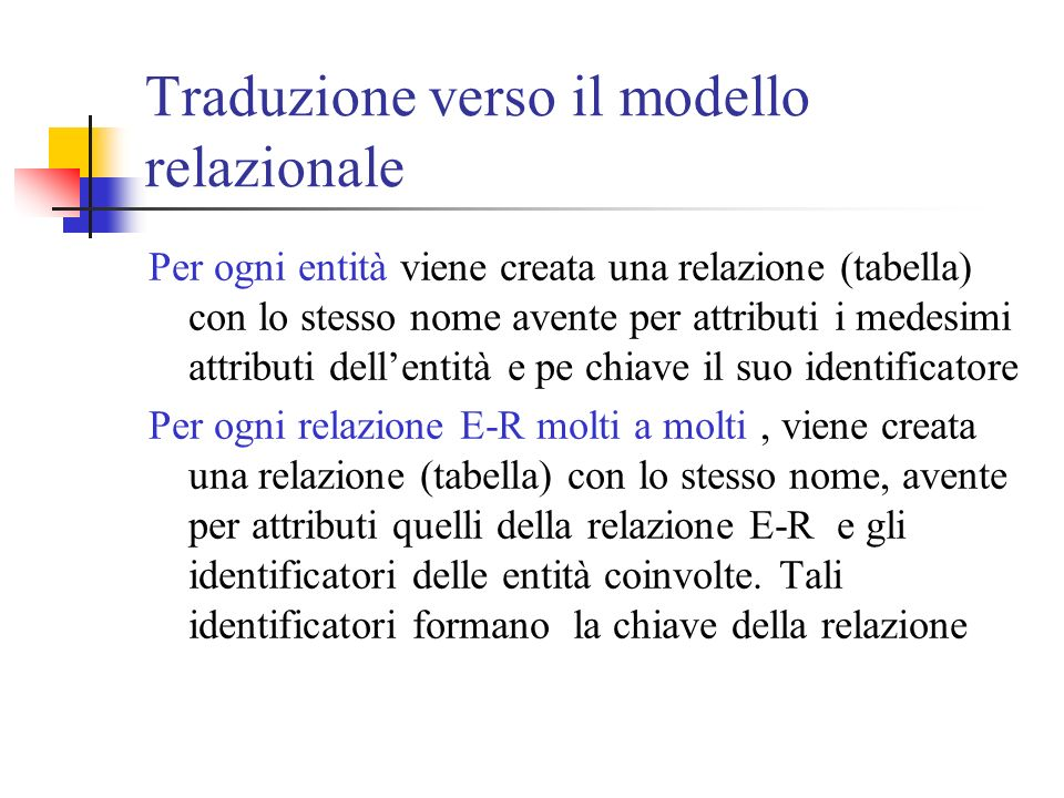 Traduzione verso il modello relazionale Per ogni entità viene creata una relazione (tabella) con lo stesso nome avente per attributi i medesimi attrib