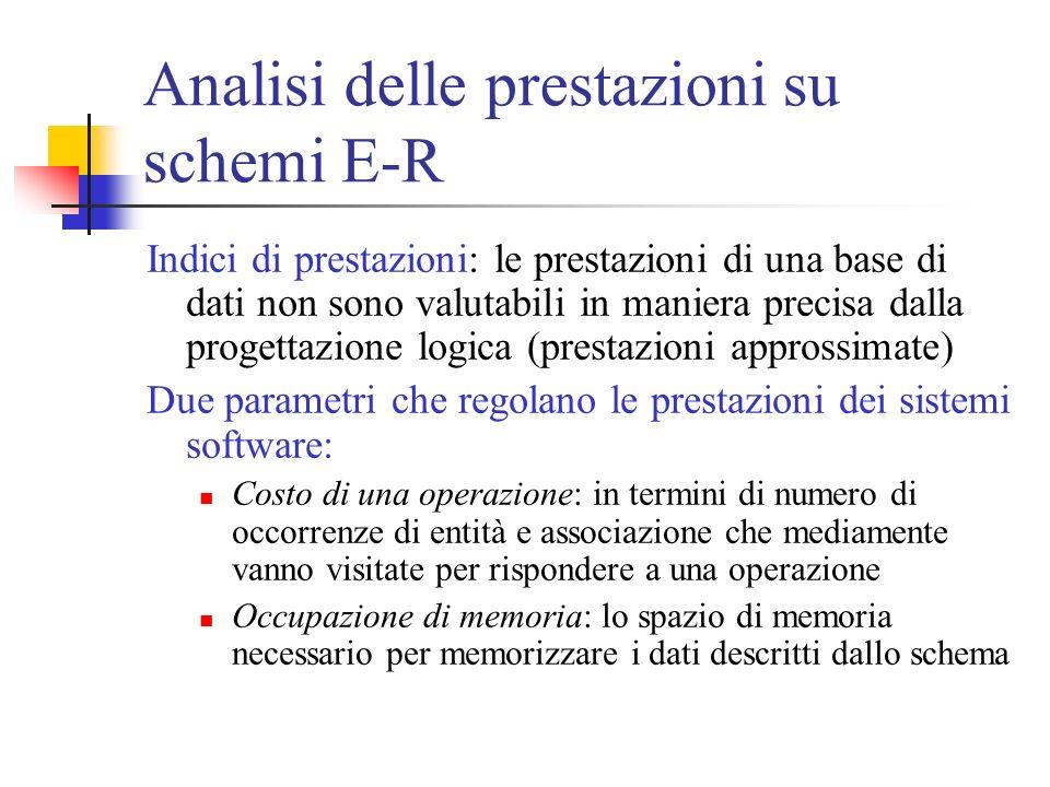Analisi delle prestazioni su schemi E-R Indici di prestazioni: le prestazioni di una base di dati non sono valutabili in maniera precisa dalla progett
