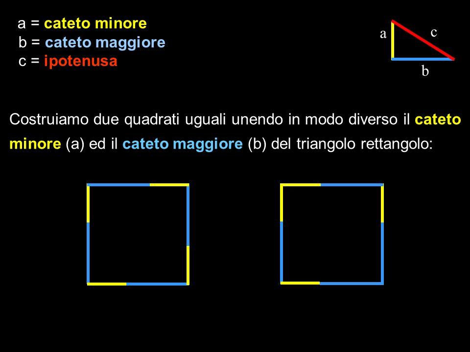 a c b Costruiamo due quadrati uguali unendo in modo diverso il cateto minore (a) ed il cateto maggiore (b) del triangolo rettangolo: a = cateto minore