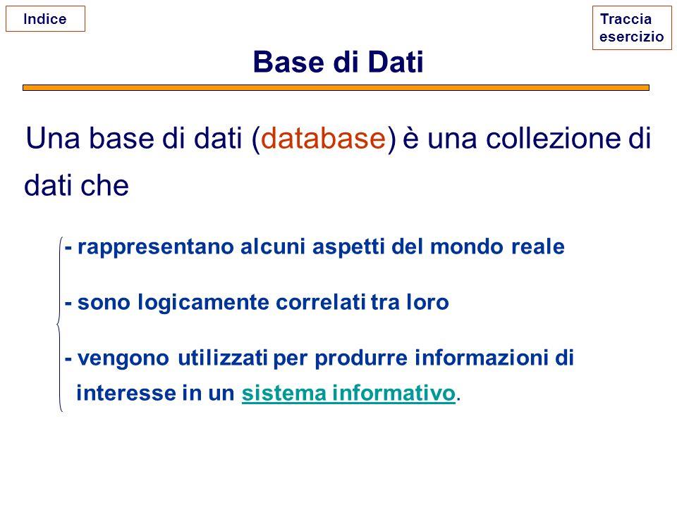 Base di Dati Una base di dati (database) è una collezione di dati che - rappresentano alcuni aspetti del mondo reale - sono logicamente correlati tra