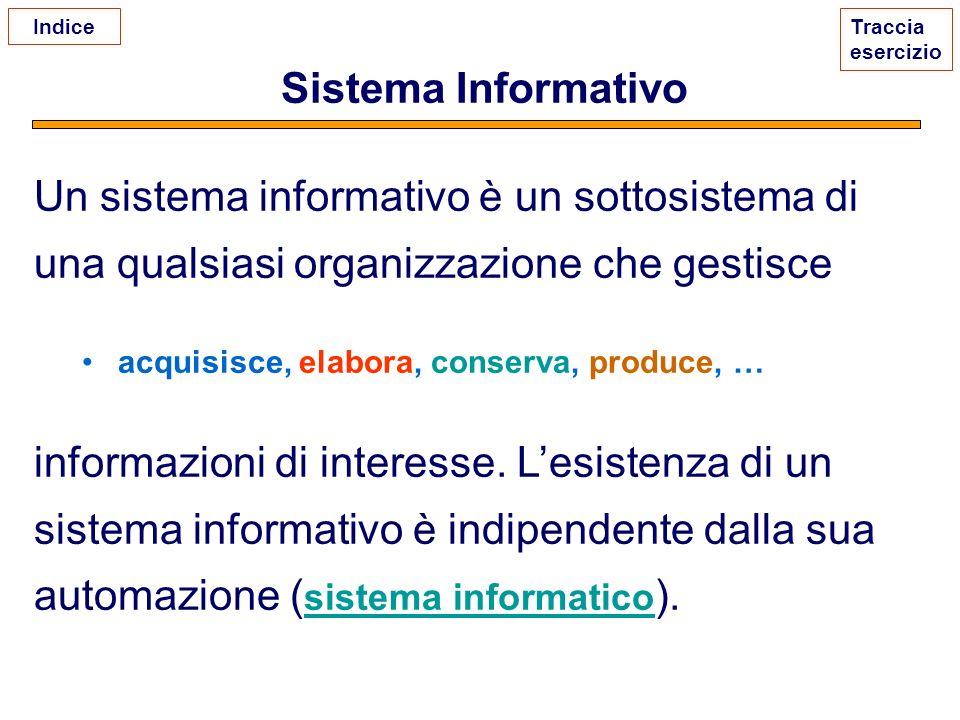 Sistema Informativo Un sistema informativo è un sottosistema di una qualsiasi organizzazione che gestisce acquisisce, elabora, conserva, produce, … in