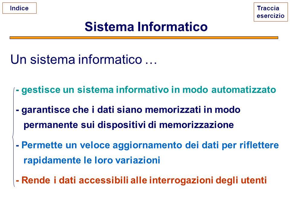 Sistema Informatico Un sistema informatico … - gestisce un sistema informativo in modo automatizzato - garantisce che i dati siano memorizzati in modo