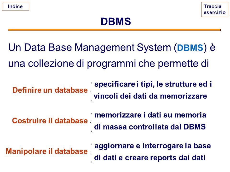 DBMS Un Data Base Management System ( DBMS ) è una collezione di programmi che permette di specificare i tipi, le strutture ed i vincoli dei dati da m