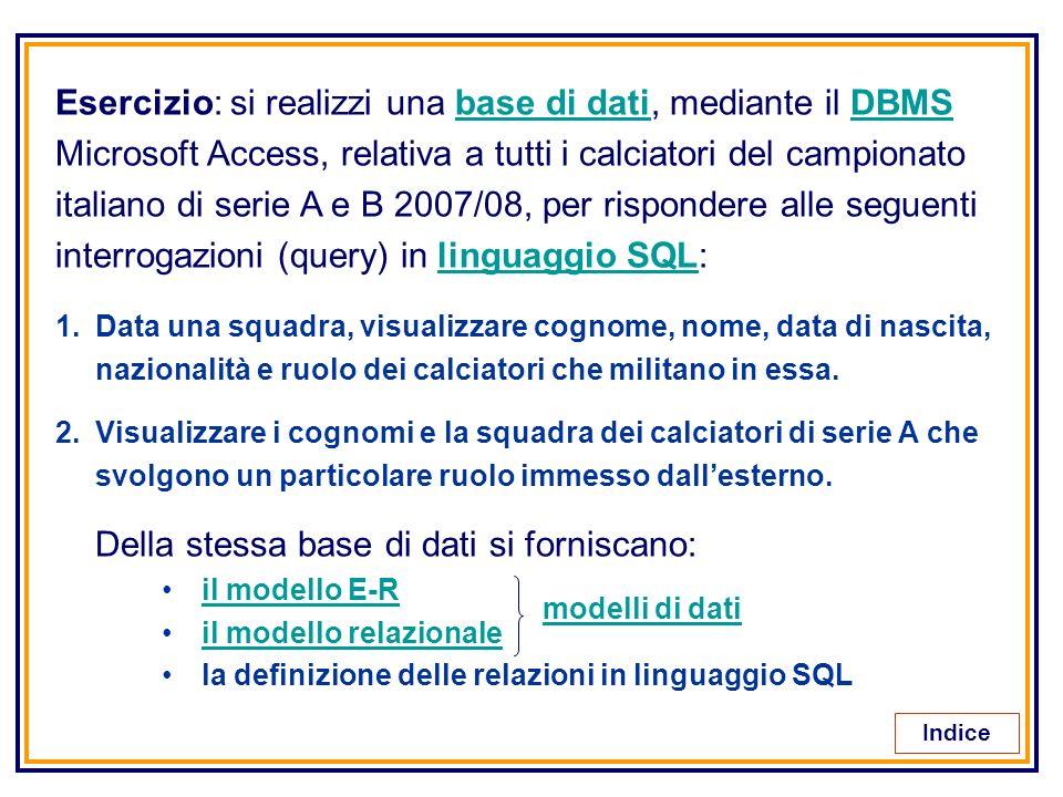 Esercizio: si realizzi una base di dati, mediante il DBMSbase di datiDBMS Microsoft Access, relativa a tutti i calciatori del campionato italiano di s