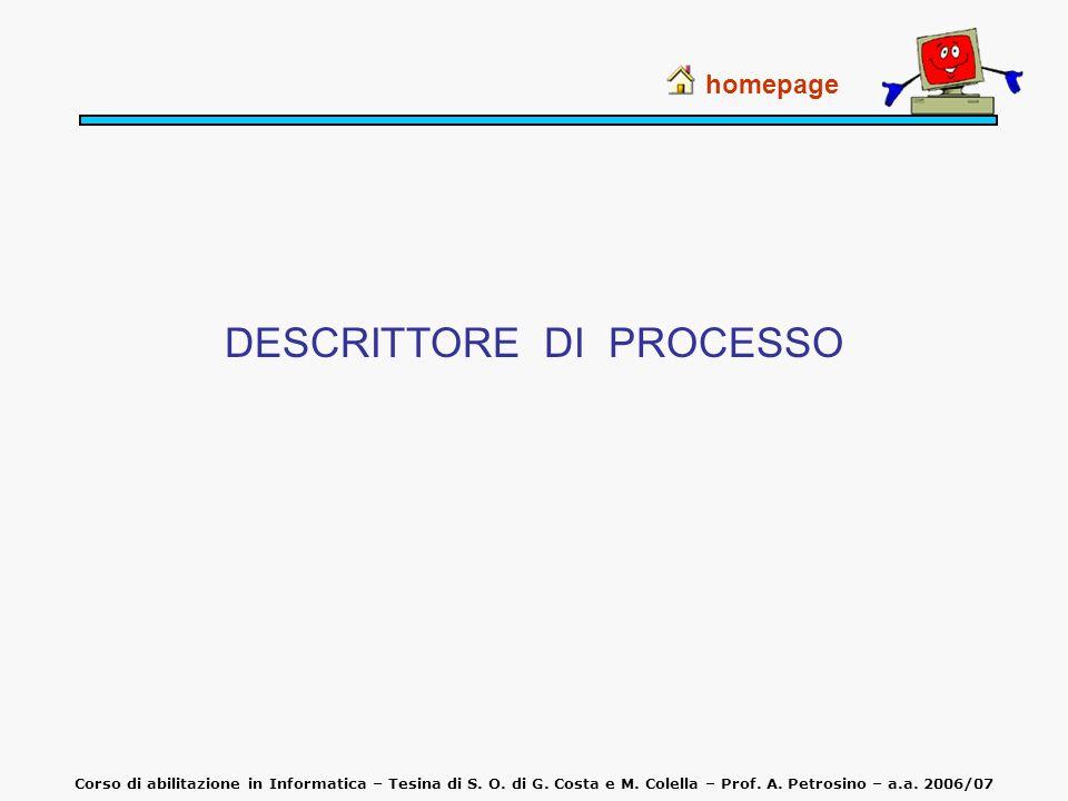 DESCRITTORE DI PROCESSO homepage Corso di abilitazione in Informatica – Tesina di S. O. di G. Costa e M. Colella – Prof. A. Petrosino – a.a. 2006/07