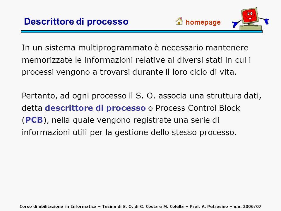 Descrittore di processo homepage In un sistema multiprogrammato è necessario mantenere memorizzate le informazioni relative ai diversi stati in cui i