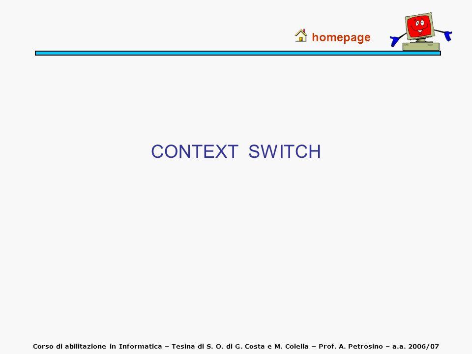 CONTEXT SWITCH homepage Corso di abilitazione in Informatica – Tesina di S. O. di G. Costa e M. Colella – Prof. A. Petrosino – a.a. 2006/07