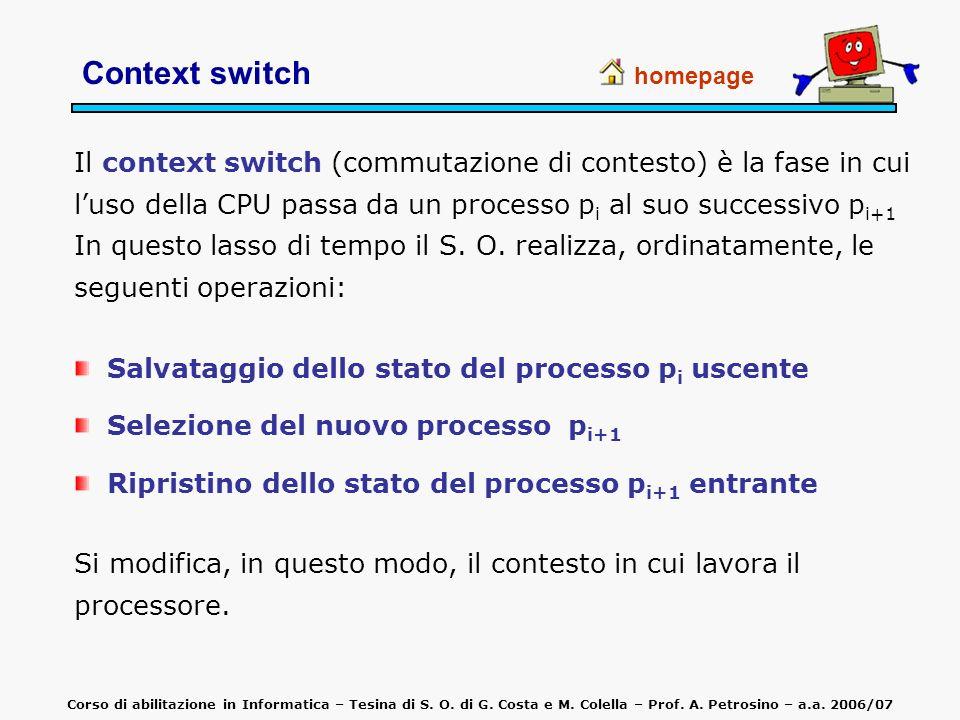 Context switch homepage Il context switch (commutazione di contesto) è la fase in cui luso della CPU passa da un processo p i al suo successivo p i+1