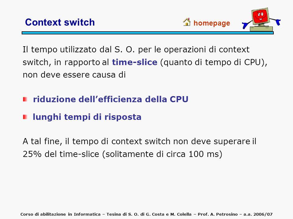 Context switch homepage Il tempo utilizzato dal S. O. per le operazioni di context switch, in rapporto al time-slice (quanto di tempo di CPU), non dev