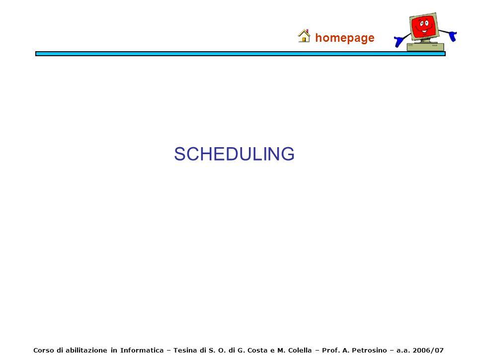 SCHEDULING homepage Corso di abilitazione in Informatica – Tesina di S. O. di G. Costa e M. Colella – Prof. A. Petrosino – a.a. 2006/07