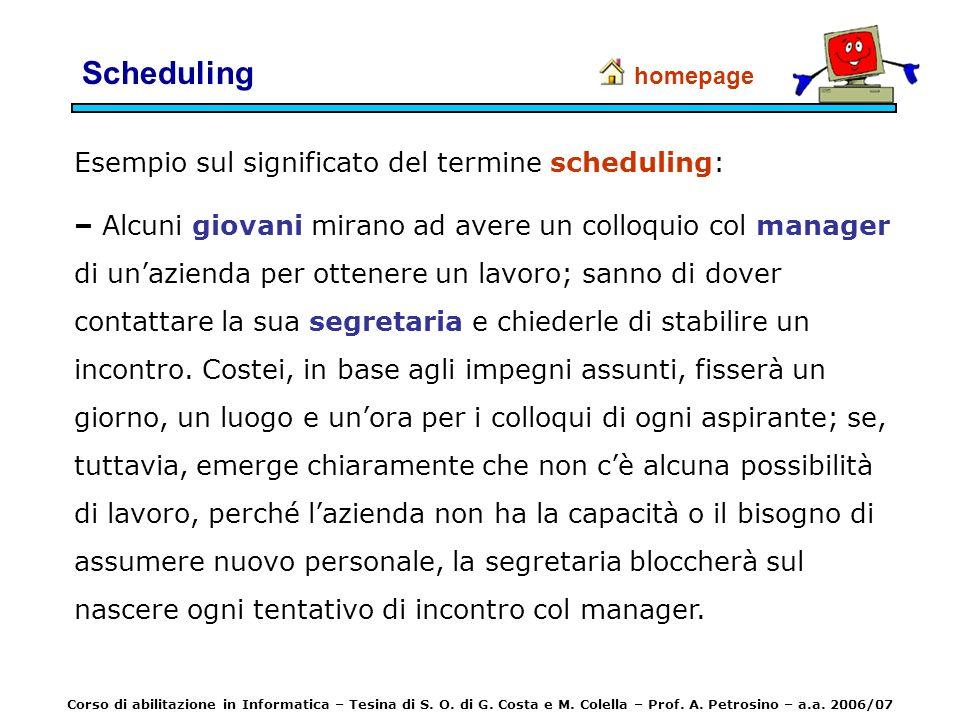 Scheduling Esempio sul significato del termine scheduling: – Alcuni giovani mirano ad avere un colloquio col manager di unazienda per ottenere un lavo
