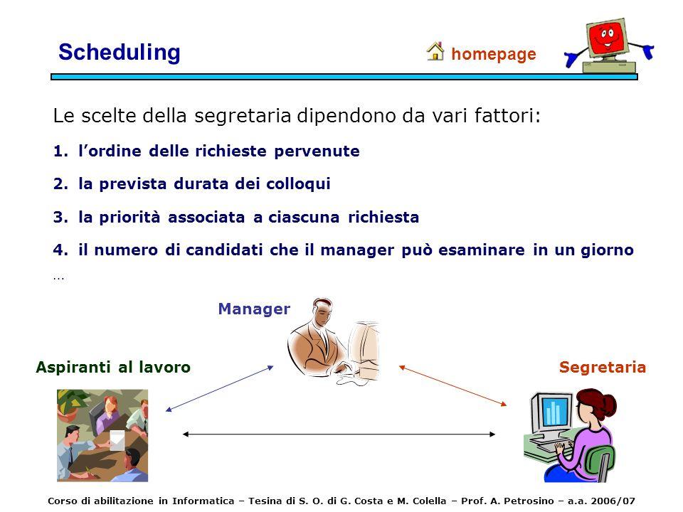 Scheduling Le scelte della segretaria dipendono da vari fattori: 1.lordine delle richieste pervenute 2.la prevista durata dei colloqui 3.la priorità a