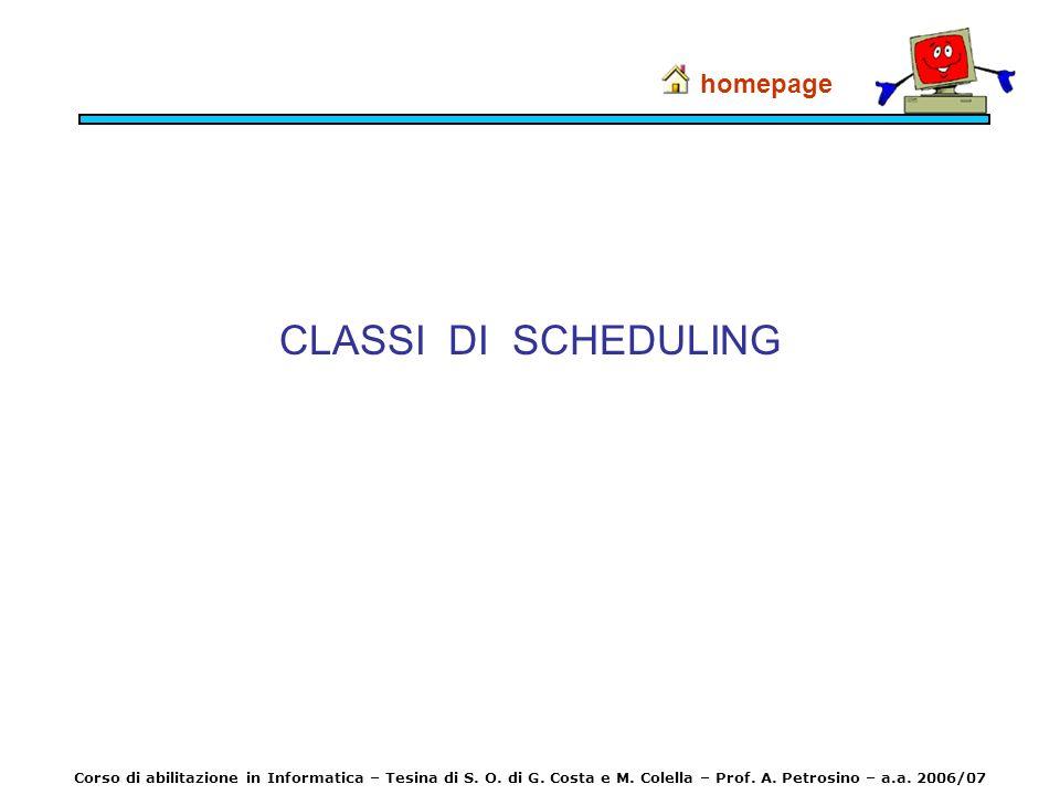 CLASSI DI SCHEDULING homepage Corso di abilitazione in Informatica – Tesina di S. O. di G. Costa e M. Colella – Prof. A. Petrosino – a.a. 2006/07