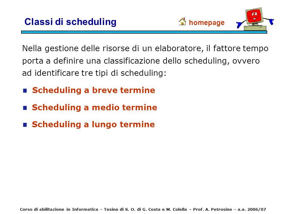 Classi di scheduling Nella gestione delle risorse di un elaboratore, il fattore tempo porta a definire una classificazione dello scheduling, ovvero ad
