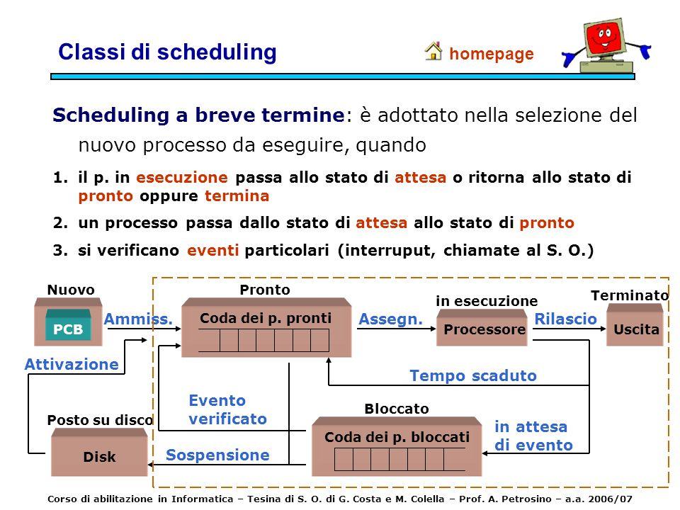 Classi di scheduling Scheduling a breve termine: è adottato nella selezione del nuovo processo da eseguire, quando 1.il p. in esecuzione passa allo st