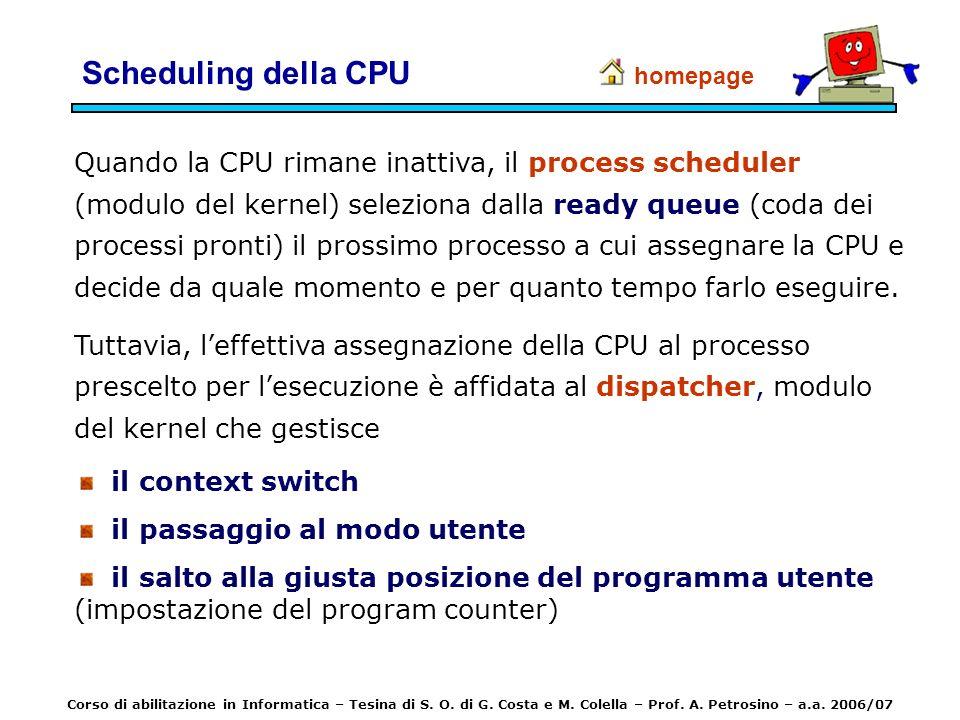 Scheduling della CPU Quando la CPU rimane inattiva, il process scheduler (modulo del kernel) seleziona dalla ready queue (coda dei processi pronti) il