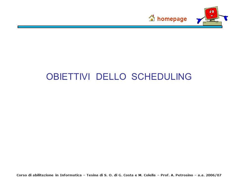 OBIETTIVI DELLO SCHEDULING homepage Corso di abilitazione in Informatica – Tesina di S. O. di G. Costa e M. Colella – Prof. A. Petrosino – a.a. 2006/0