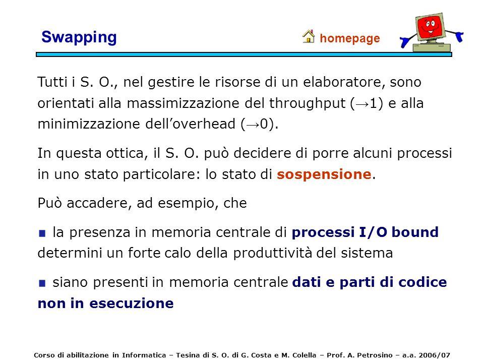 Swapping Tutti i S. O., nel gestire le risorse di un elaboratore, sono orientati alla massimizzazione del throughput ( 1) e alla minimizzazione dellov