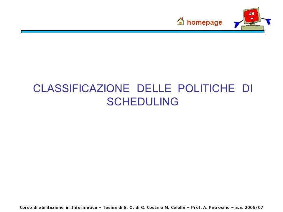 CLASSIFICAZIONE DELLE POLITICHE DI SCHEDULING homepage Corso di abilitazione in Informatica – Tesina di S. O. di G. Costa e M. Colella – Prof. A. Petr