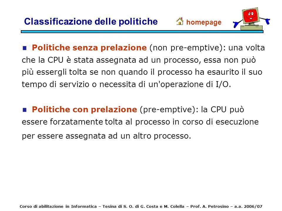 Politiche senza prelazione (non pre-emptive): una volta che la CPU è stata assegnata ad un processo, essa non può più essergli tolta se non quando il