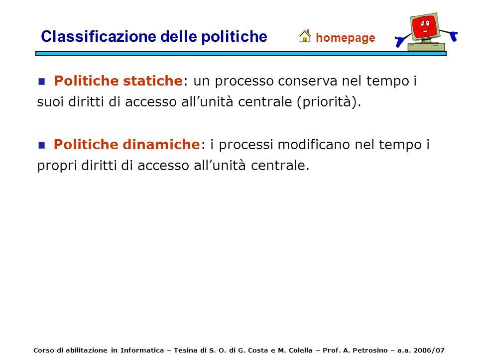 Politiche statiche: un processo conserva nel tempo i suoi diritti di accesso allunità centrale (priorità). Politiche dinamiche: i processi modificano