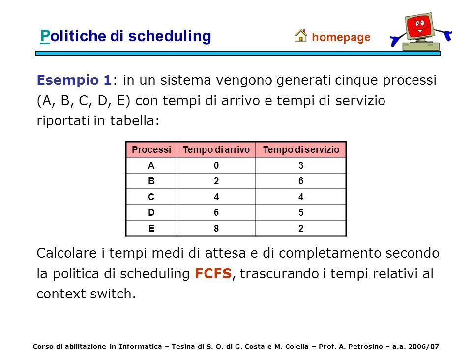 Esempio 1: in un sistema vengono generati cinque processi (A, B, C, D, E) con tempi di arrivo e tempi di servizio riportati in tabella: homepage Calco
