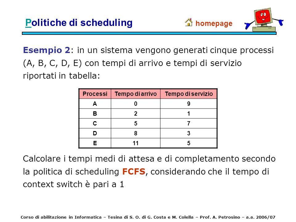 Esempio 2: in un sistema vengono generati cinque processi (A, B, C, D, E) con tempi di arrivo e tempi di servizio riportati in tabella: homepage Calco