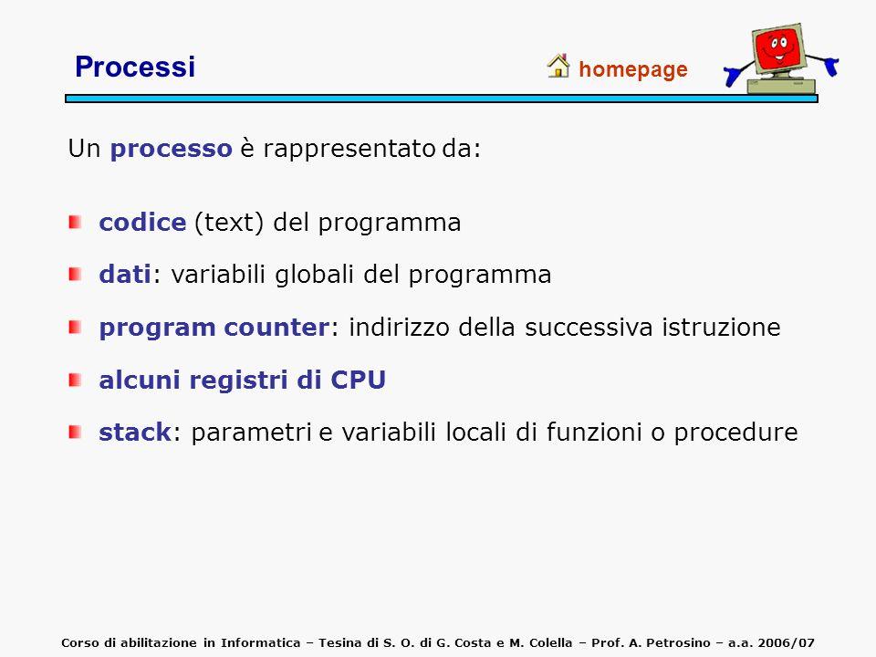 Un processo è rappresentato da: codice (text) del programma dati: variabili globali del programma program counter: indirizzo della successiva istruzio