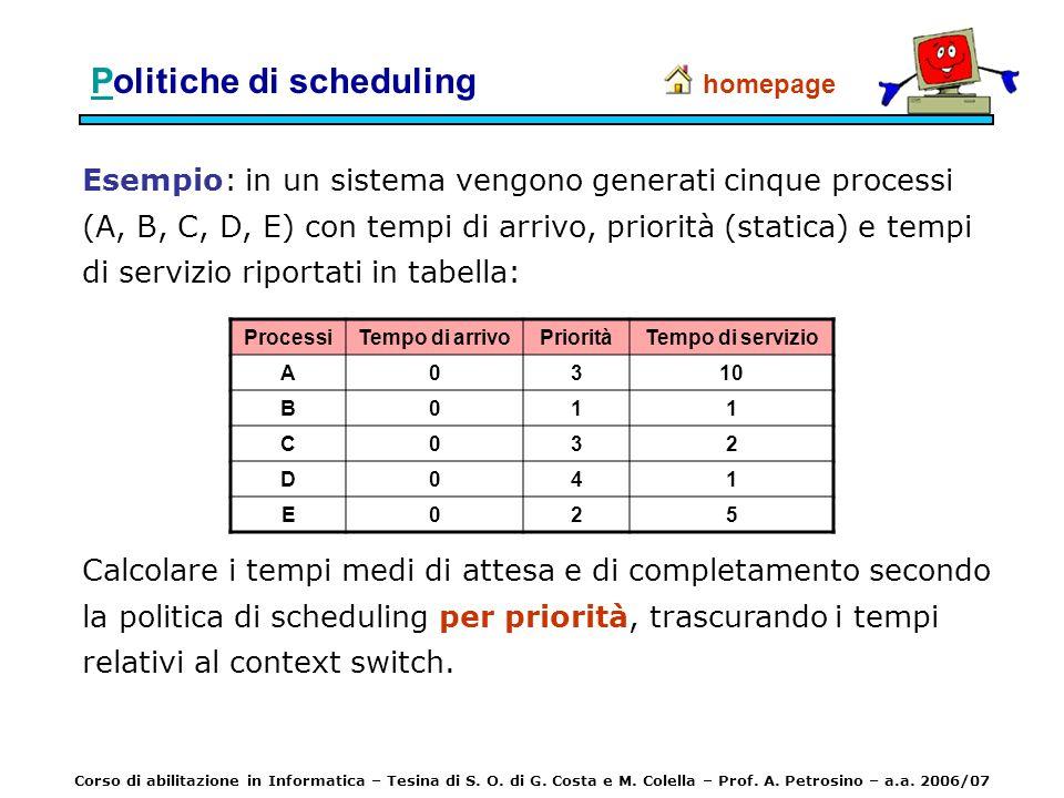 Esempio: in un sistema vengono generati cinque processi (A, B, C, D, E) con tempi di arrivo, priorità (statica) e tempi di servizio riportati in tabel