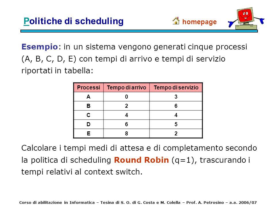 Esempio: in un sistema vengono generati cinque processi (A, B, C, D, E) con tempi di arrivo e tempi di servizio riportati in tabella: homepage Calcola