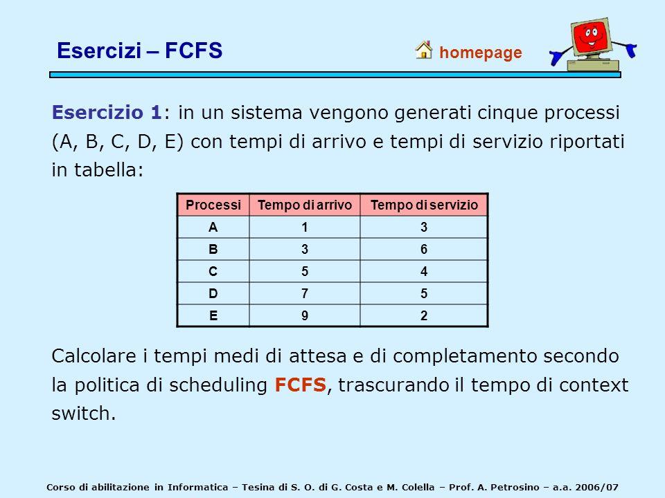 homepage Corso di abilitazione in Informatica – Tesina di S. O. di G. Costa e M. Colella – Prof. A. Petrosino – a.a. 2006/07 Esercizio 1: in un sistem