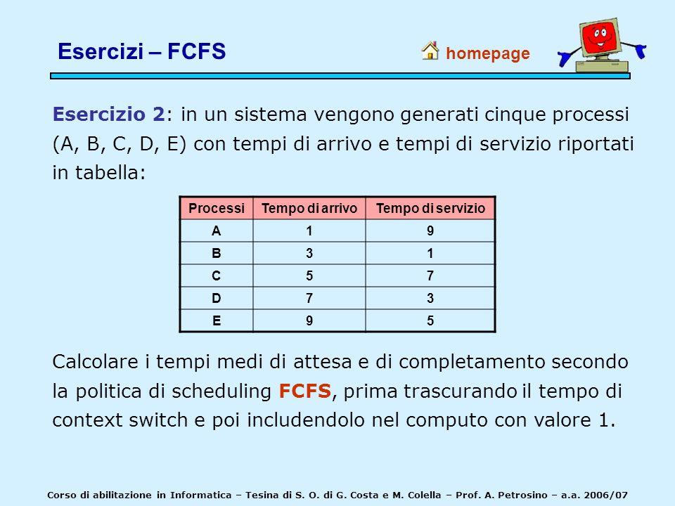 homepage Corso di abilitazione in Informatica – Tesina di S. O. di G. Costa e M. Colella – Prof. A. Petrosino – a.a. 2006/07 Esercizio 2: in un sistem