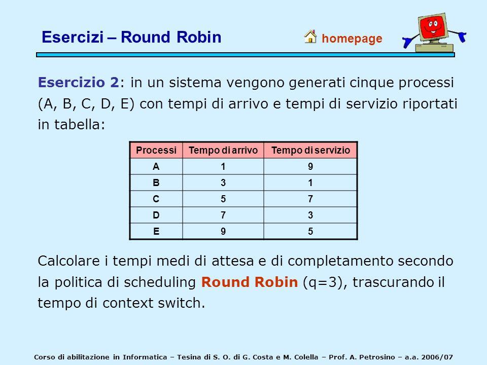 Esercizio 2: in un sistema vengono generati cinque processi (A, B, C, D, E) con tempi di arrivo e tempi di servizio riportati in tabella: homepage Cal