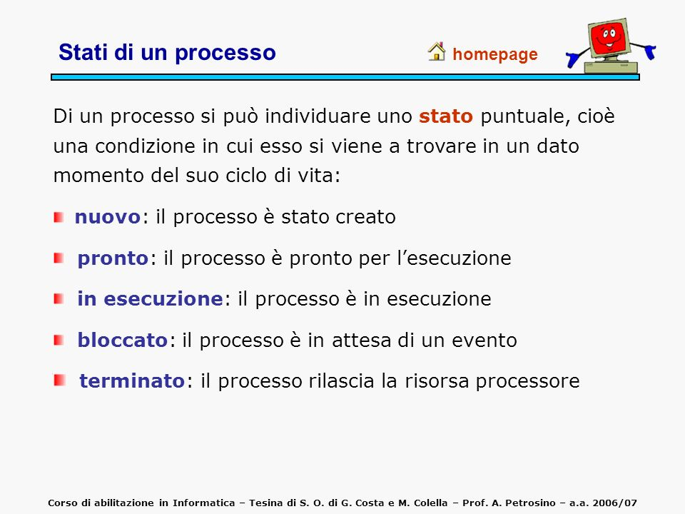 Stati di un processo homepage Di un processo si può individuare uno stato puntuale, cioè una condizione in cui esso si viene a trovare in un dato mome