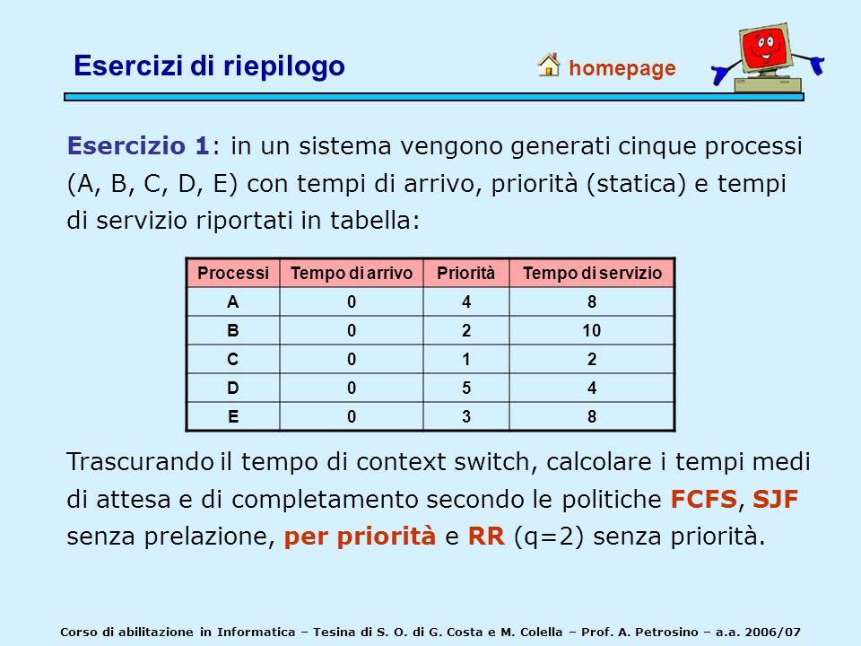 Esercizio 1: in un sistema vengono generati cinque processi (A, B, C, D, E) con tempi di arrivo, priorità (statica) e tempi di servizio riportati in t