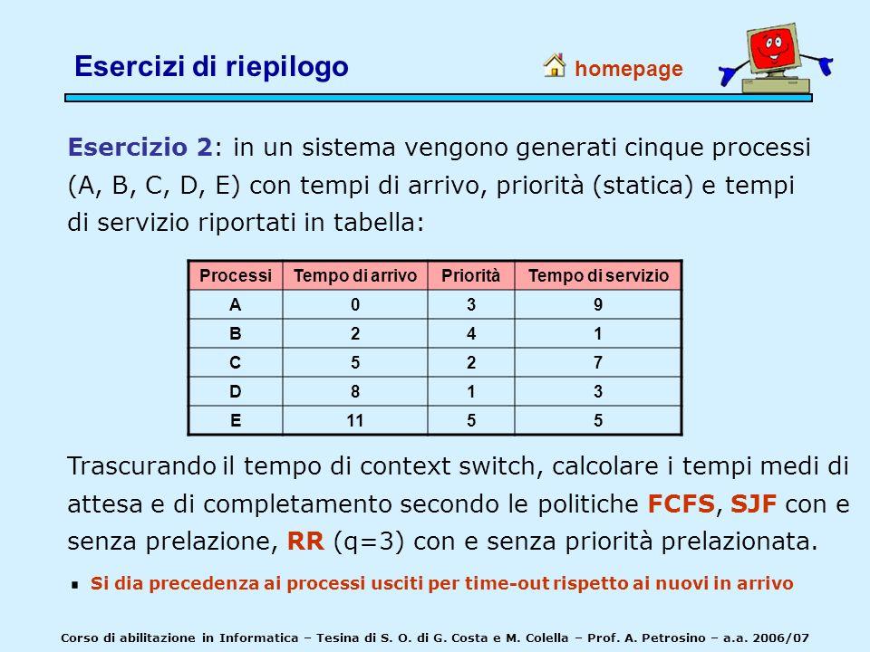 Esercizio 2: in un sistema vengono generati cinque processi (A, B, C, D, E) con tempi di arrivo, priorità (statica) e tempi di servizio riportati in t