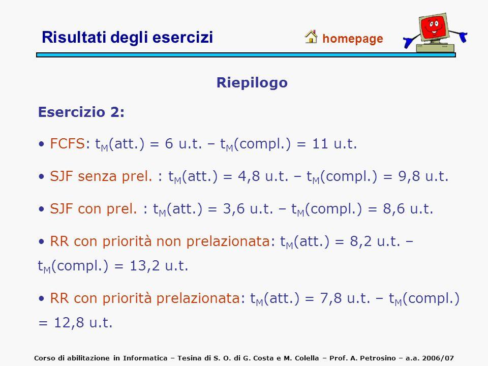 Riepilogo Esercizio 2: FCFS: t M (att.) = 6 u.t. – t M (compl.) = 11 u.t. SJF senza prel. : t M (att.) = 4,8 u.t. – t M (compl.) = 9,8 u.t. SJF con pr