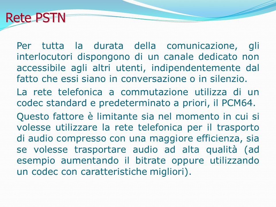 Rete PSTN Per tutta la durata della comunicazione, gli interlocutori dispongono di un canale dedicato non accessibile agli altri utenti, indipendentemente dal fatto che essi siano in conversazione o in silenzio.
