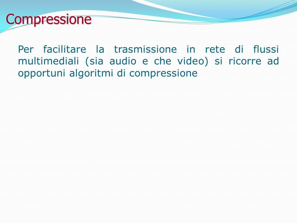 Compressione Per facilitare la trasmissione in rete di flussi multimediali (sia audio e che video) si ricorre ad opportuni algoritmi di compressione