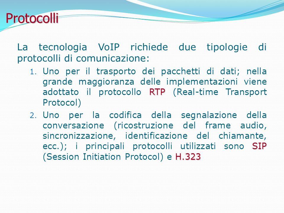 Protocolli La tecnologia VoIP richiede due tipologie di protocolli di comunicazione: RTP 1.