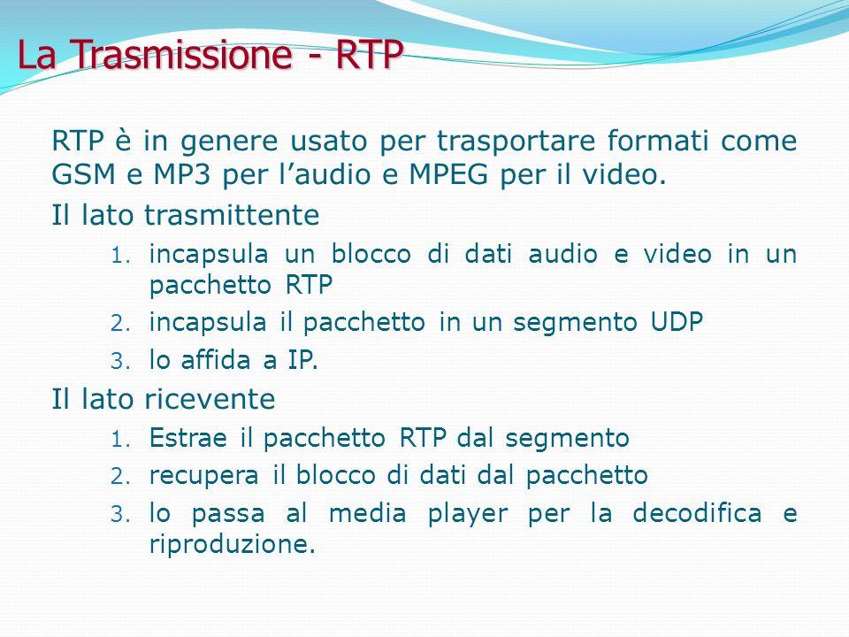 La Trasmissione - RTP RTP è in genere usato per trasportare formati come GSM e MP3 per laudio e MPEG per il video.