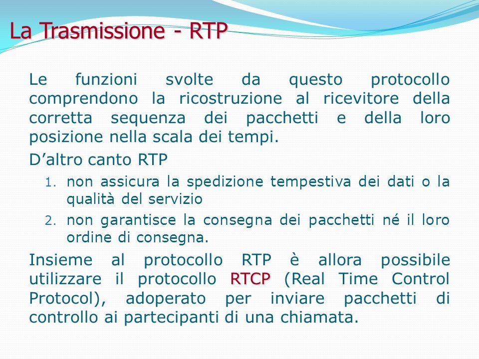 La Trasmissione - RTP Le funzioni svolte da questo protocollo comprendono la ricostruzione al ricevitore della corretta sequenza dei pacchetti e della loro posizione nella scala dei tempi.