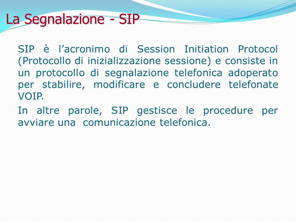 La Segnalazione - SIP SIP è lacronimo di Session Initiation Protocol (Protocollo di inizializzazione sessione) e consiste in un protocollo di segnalazione telefonica adoperato per stabilire, modificare e concludere telefonate VOIP.