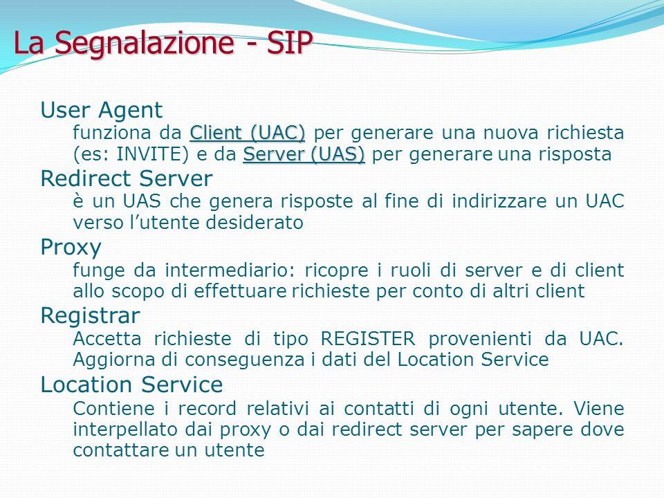 La Segnalazione - SIP User Agent Client (UAC) Server (UAS) funziona da Client (UAC) per generare una nuova richiesta (es: INVITE) e da Server (UAS) per generare una risposta Redirect Server è un UAS che genera risposte al fine di indirizzare un UAC verso lutente desiderato Proxy funge da intermediario: ricopre i ruoli di server e di client allo scopo di effettuare richieste per conto di altri client Registrar Accetta richieste di tipo REGISTER provenienti da UAC.