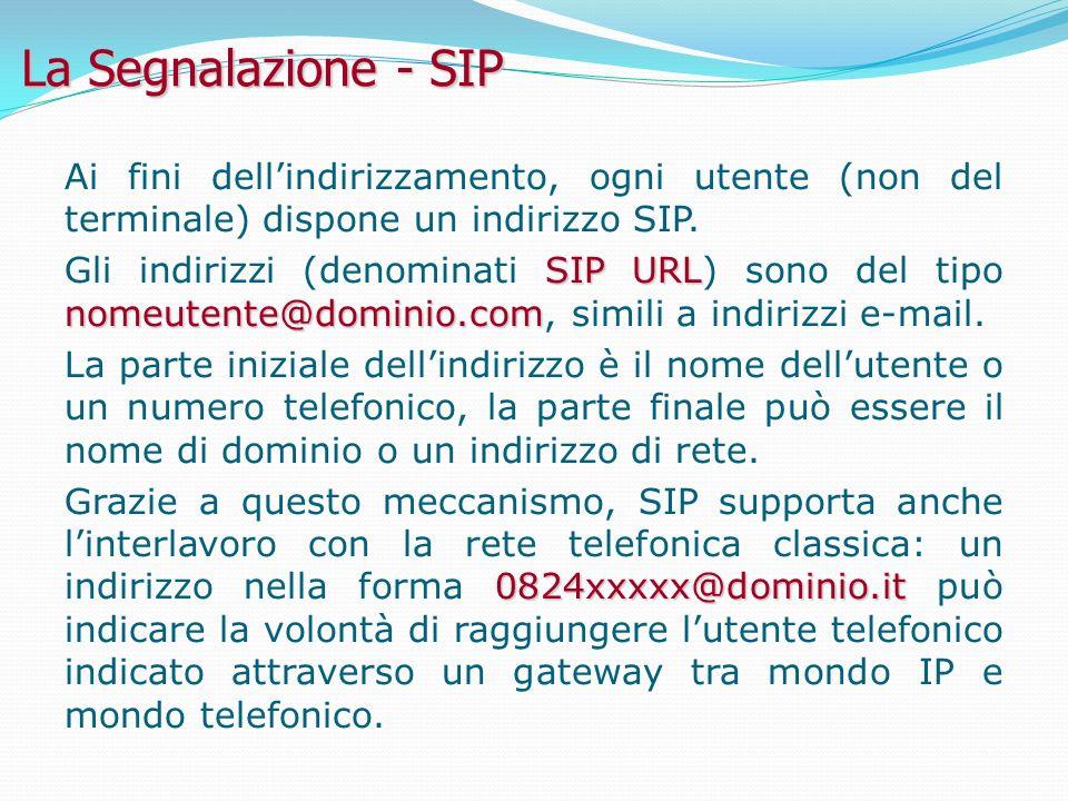 La Segnalazione - SIP Ai fini dellindirizzamento, ogni utente (non del terminale) dispone un indirizzo SIP.