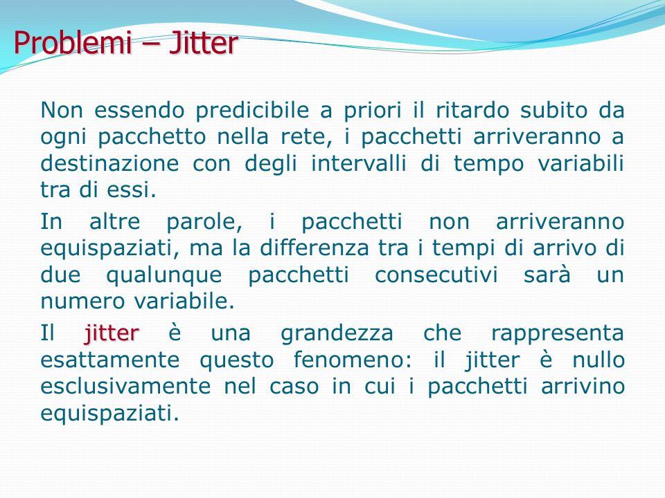 Problemi – Jitter Non essendo predicibile a priori il ritardo subito da ogni pacchetto nella rete, i pacchetti arriveranno a destinazione con degli intervalli di tempo variabili tra di essi.
