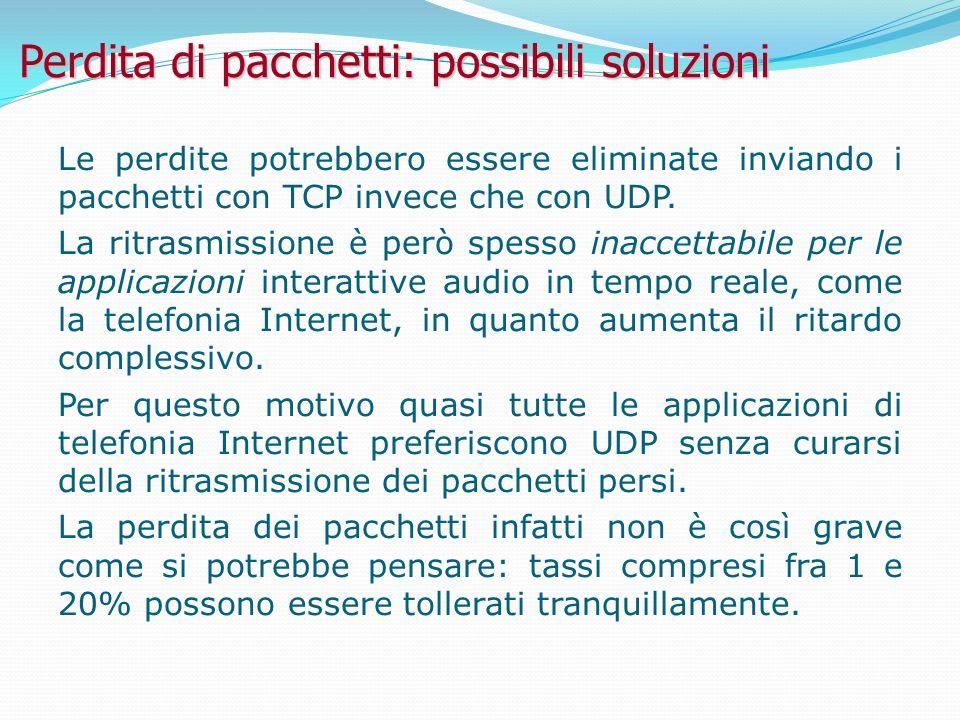 Perdita di pacchetti: possibili soluzioni Le perdite potrebbero essere eliminate inviando i pacchetti con TCP invece che con UDP.